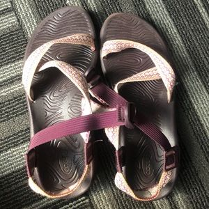 Purple printed Chacos